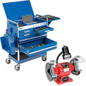 Sunex Tools 8045BL Professional 5 Drawer Blue Tool Cart W/ Locking Top & FREE Bench Grinder
