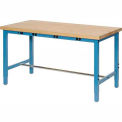 "72""W x 36""D Production Workbench with Power Apron - Birch Butcher Block Square Edge - Blue"