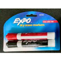 Expo Chisel Low Odor Dry Erase Marker, 2/Pack, Black & Red