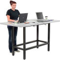 """Standing Height Table with Power - 72""""W x 36""""Dx 42""""H - Laminate - Gray"""