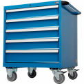 """Global™ Mobile Modular Drawer Cabinet, 7 Drawers,w/Lock,w/o Dividers, 30""""Wx27""""Dx36-7/10""""H Blue"""