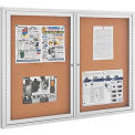 "Enclosed Bulletin Board - Cork - Aluminum Frame - 48"" x 36"" - 2 Door"