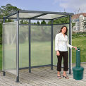 "Bus Smoking Shelter Flat Roof 3-Side Open Front  With Green 5 Gallon Outdoor Ashtray 6'5""x3'8""x7'"