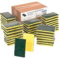 "Global Industrial™ Resort Cut Scrub Sponge, Yellow/Green, 2.75"" x 4"" - Case of 40 Sponges"
