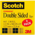 "Scotch® Double Sided Tape 665-2PK, 1/2"" x 900"", 1"" Core, 2 Rolls/Pack"