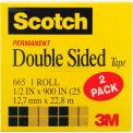 "Scotch® Double Sided Tape 665-2PK, 1/2"" x 900"", 1"" Core, 2 Rolls/Pack"