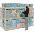 "Record Storage Rack Tan 48""W X 48""D X 60""H With Polyethylene File Boxes"