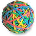 Acco® Rubber Band Ball, 275 Assorted Color Bands, 1 Each