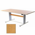 """Infinity™ Powered Height Adjustable Group Therapy Table - 72""""L x 36""""W Oak"""