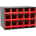 "Akro-Mils® Steel Small Parts Storage Cabinet 17""W x 11""D x 11""H W/ 15 Red Drawers"