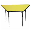 "Activity Table, 24"" x 24"" x 48"", Trapezoid, Juvenile Adj. Height, Yellow"