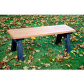 Polly Products Deluxe 4 Ft. Flat Bench, Cedar Bench/Green Frame