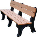 Polly Products Econo-Mizer Traditional 6 Ft. Backed Bench, Brown Bench/Black Frame