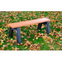 Polly Products Landmark 4 Ft. Flat Bench, Cedar Bench/Brown Frame