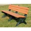 Polly Products Silhouette 6 Ft. Backed Bench, Green Bench/Black Frame