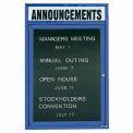 Aarco 1 Door Letter Board Cabinet w/ Header Blue Powder Coat - 18
