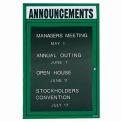 Aarco 1 Door Letter Board Cabinet w/ Header Green Powder Coat - 18