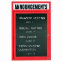 Aarco 1 Door Letter Board Cabinet w/ Header Red Powder Coat - 18