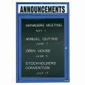Aarco 1 Door Letter Board Cabinet w/ Header Blue Powder Coat - 24