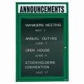 Aarco 1 Door Letter Board Cabinet w/ Header Green Powder Coat - 24