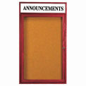 "1 Door Cherry Enclosed Bulletin Board w/ Header - 18""W x 24""H"