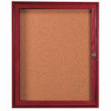 "1 Door Cherry Enclosed Bulletin Board - 36""W x 30""H"