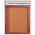 "1 Door Cherry Enclosed Bulletin Board w/ Header - 30""W x 24""H"