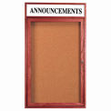 "1 Door Cherry Enclosed Bulletin Board w/ Header - 36""W x 48""H"