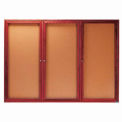 "3 Door Cherry Enclosed Bulletin Board - 72""W x 48""H"