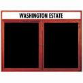Aarco 2 Door Cherry Enclosed Changeable Letter Board w/ Header - 48