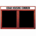 Aarco 2 Door Cherry Enclosed Changeable Letter Board w/ Header - 60