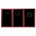Aarco 3 Door Cherry Enclosed Changeable Letter Board - 72