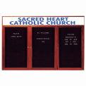 Aarco 3 Door Cherry Enclosed Changeable Letter Board w/ Header - 72