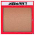 "Aarco 1 Door Alum Framed Bulletin Board w/ Header, Illum Red Pc - 36""W x 36""H"