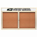 "2 Door Alum Framed Bulletin Board w/ Header, Illum Ivory Pc - 60""W x 36""H"