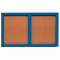 "2 Door Framed Illuminated Enclosed Bulletin Board Blue Powder Coat - 60""W x 36""H"