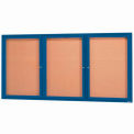 "3 Door Framed Enclosed Bulletin Board Blue Powder Coat - 72""W x 36""H"
