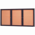 "Aarco 3 Door Framed Enclosed Bulletin Board Bronzed Anod. - 72""W x 36""H"