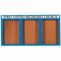 "Aarco 3 Door Aluminum Framed Bulletin Board w/ Header Blue Powder Coat - 72""W x 36""H"