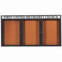 "Aarco 3 Door Aluminum Framed Bulletin Board w/ Header Bronze Anod. - 72""W x 36""H"