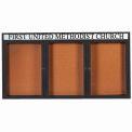 "Aarco 3 Door Aluminum Framed Bulletin Board w/ Header Black Powder Coat - 72""W x 36""H"