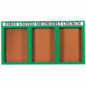 "Aarco 3 Door Alum Framed Bulletin Board w/ Header, Illum Green Pc - 72""W x 36""H"