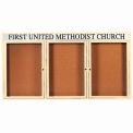 "Aarco 3 Door Alum Framed Bulletin Board w/ Header, Illum Ivory Pc - 72""W x 36""H"
