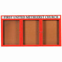 "Aarco 3 Door Aluminum Framed Bulletin Board w/ Header Red Powder Coat - 72""W x 36""H"