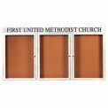 "Aarco 3 Door Aluminum Framed Bulletin Board w/ Header White Powder Coat - 72""W x 36""H"