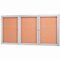 Aarco 3 Door Framed Illuminated Enclosed Bulletin Board - 72