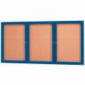 "Aarco 3 Door Framed Illuminated Enclosed Bulletin Board Blue Powder Coat - 72""W x 36""H"