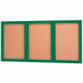 "Aarco 3 Door Framed Illuminated Enclosed Bulletin Board Green Pwdr. Coat - 72""W x 36""H"