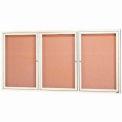 "Aarco 3 Door Framed Illuminated Enclosed Bulletin Board Ivory Pwdr. Coat - 72""W x 36""H"