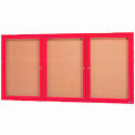 "Aarco 3 Door Framed Illuminated Enclosed Bulletin Board Red Powder Coat - 72""W x 36""H"